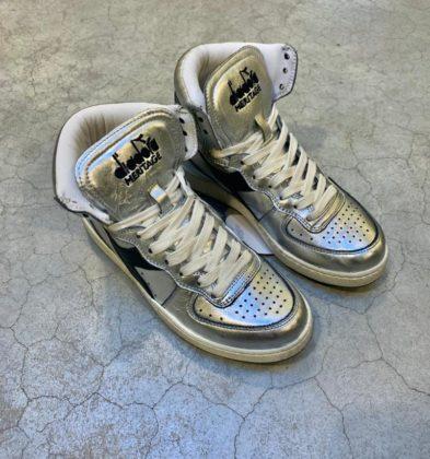 Diadora Basket haute en cuire argentée