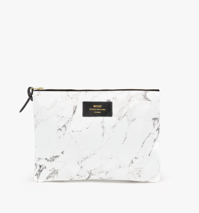 WOUF White Marble XL Pouch Bag